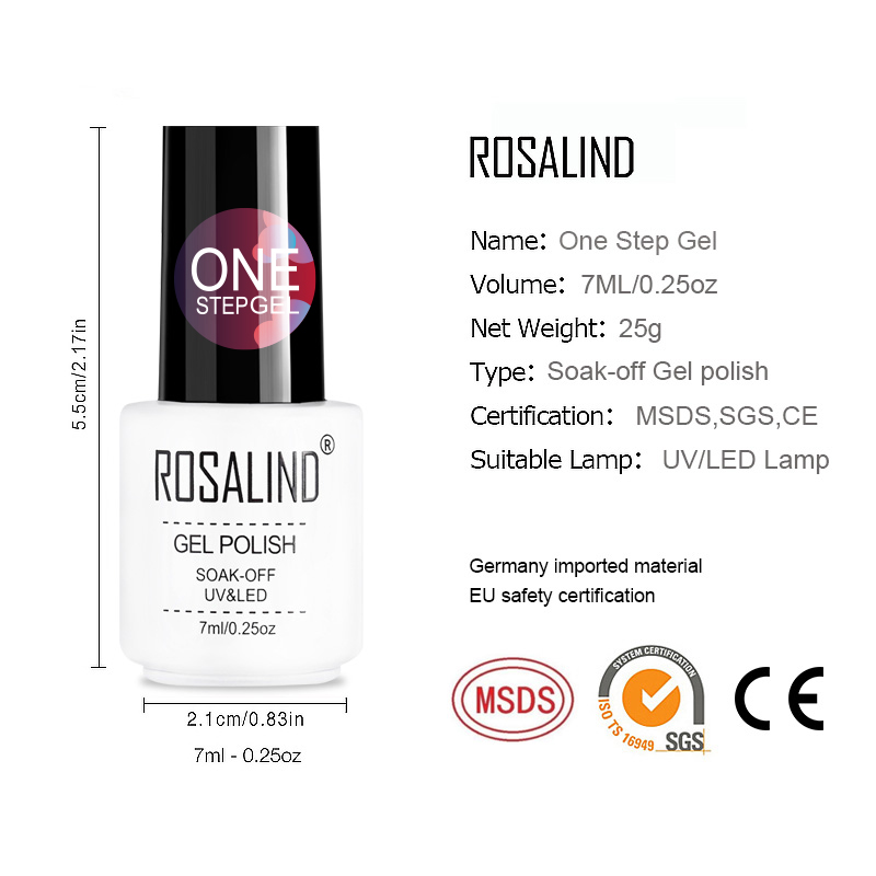 ROSALIND 3 in 1 One Step Poly Nail Gel Needed UV Lamp Polish Art Manicure Varnish Soak Off Vernis Semi Permanent Nail Gel 3