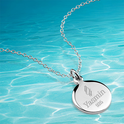 925 sterling silver pendant necklace small round card necklace,fashion style necklace