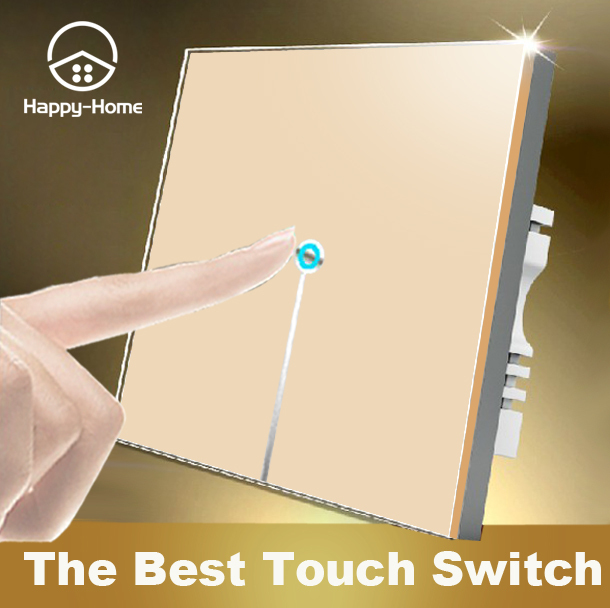 Gold LED Crystal Glass touch light switch 1gang 1way,Wallpad wall switch touch 110V~220V, Free Customize LOGO,Free Shipping smart home us au wall touch switch white crystal glass panel 1 gang 1 way power light wall touch switch used for led waterproof