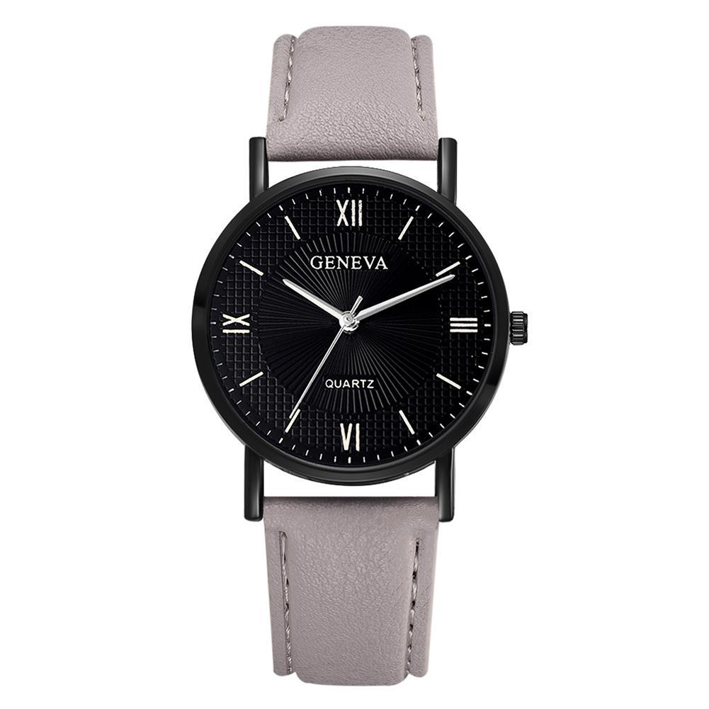 Wonderful Roman Number Round Dial Analog Faux Leather Band Business Men Quartz Wrist Watch