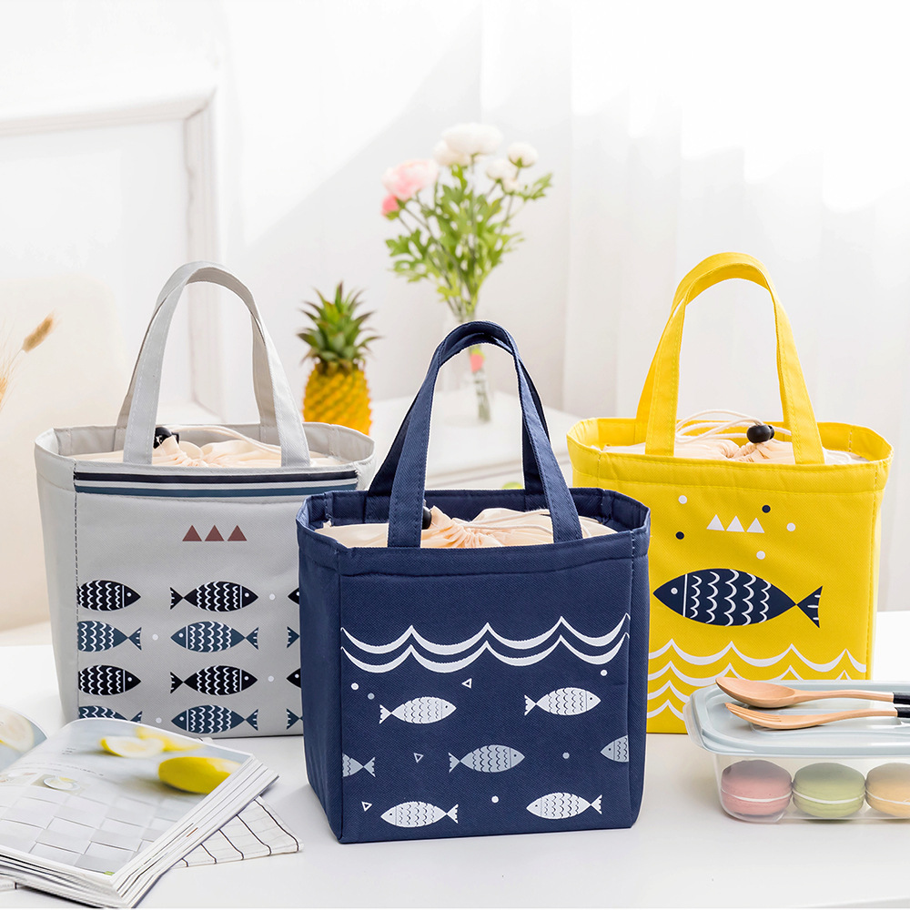 BONAMIE Fashion Portable Lunch Bag Drawstring Beam Mouth Insulated Cooler Bag Men Women Large Capacity Waterproof Picnic Bag