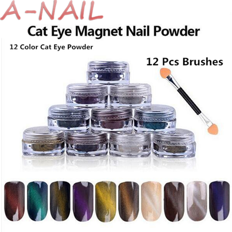 12 color Cat Eye Powder + 12 Pcs Brushes Magic Mirror Powder Dust UV Gel Polish Nail Glitter Art Glitter Pigment DIY Manicure bellylady 6 pcs set mirror powder nails kit shinning mirror nail art chrome nail powder manicure pigment glitters with gift box
