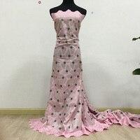 Wysokiej Jakości Afryki Swiss voile lace 082 Baby Pink + Popiołu, darmowa Wysyłka (5 jardów/paczka), 100% bawełna Afryki Wesele koronki