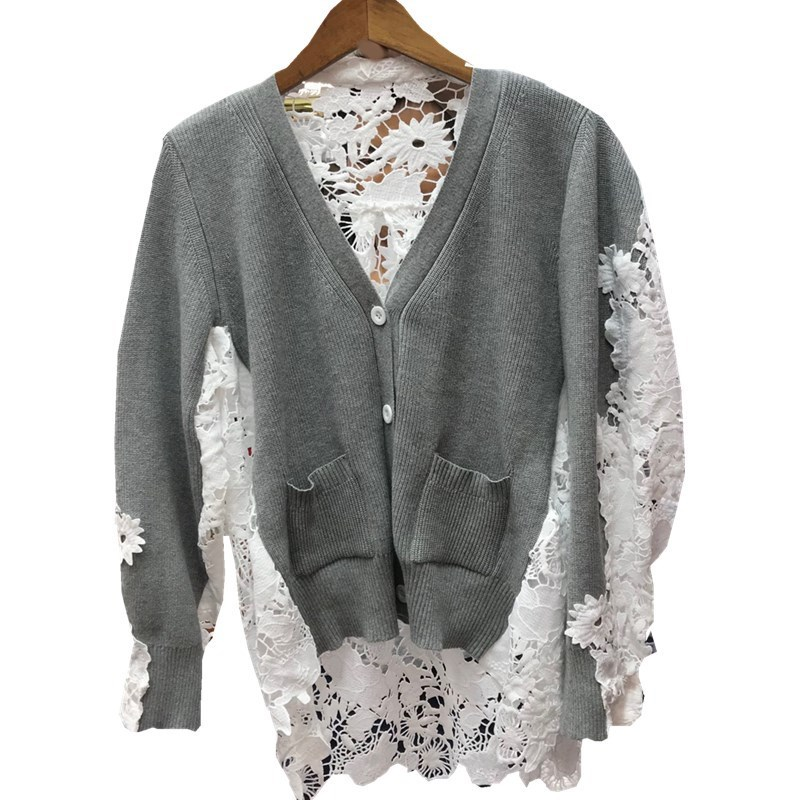 Shirt 2018 Autumn Black Long V Lace Single Winter Patchwork Casual Breasted Blouse neck Woman gray Sleeve RBTqROx