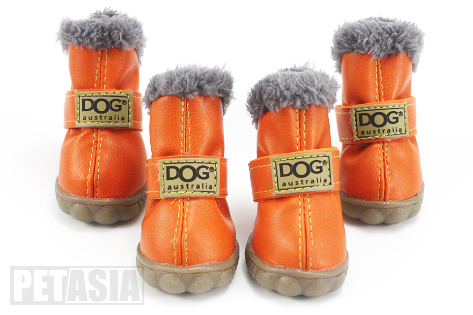 winter dog boots orange