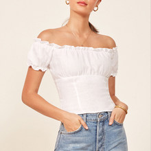 Women Off The Shoulder Top With a ruffled edged neckline Smocked Lower Back Top with Puff Sleeve(China)