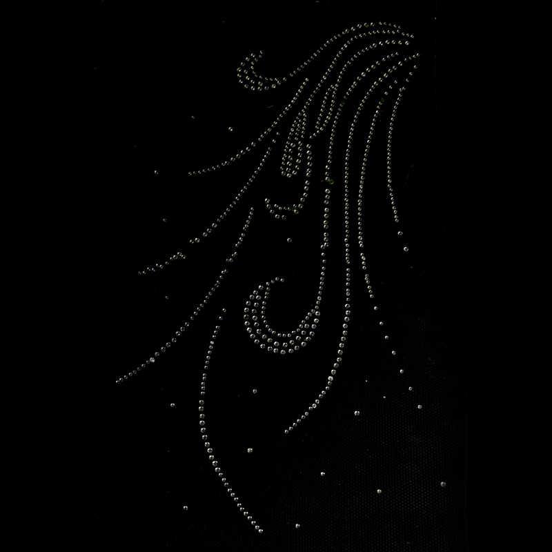 Cristal Hot Fix strass plume Motif cristal perle transfert de chaleur conception fer sur les vêtements t-shirt robe de danse