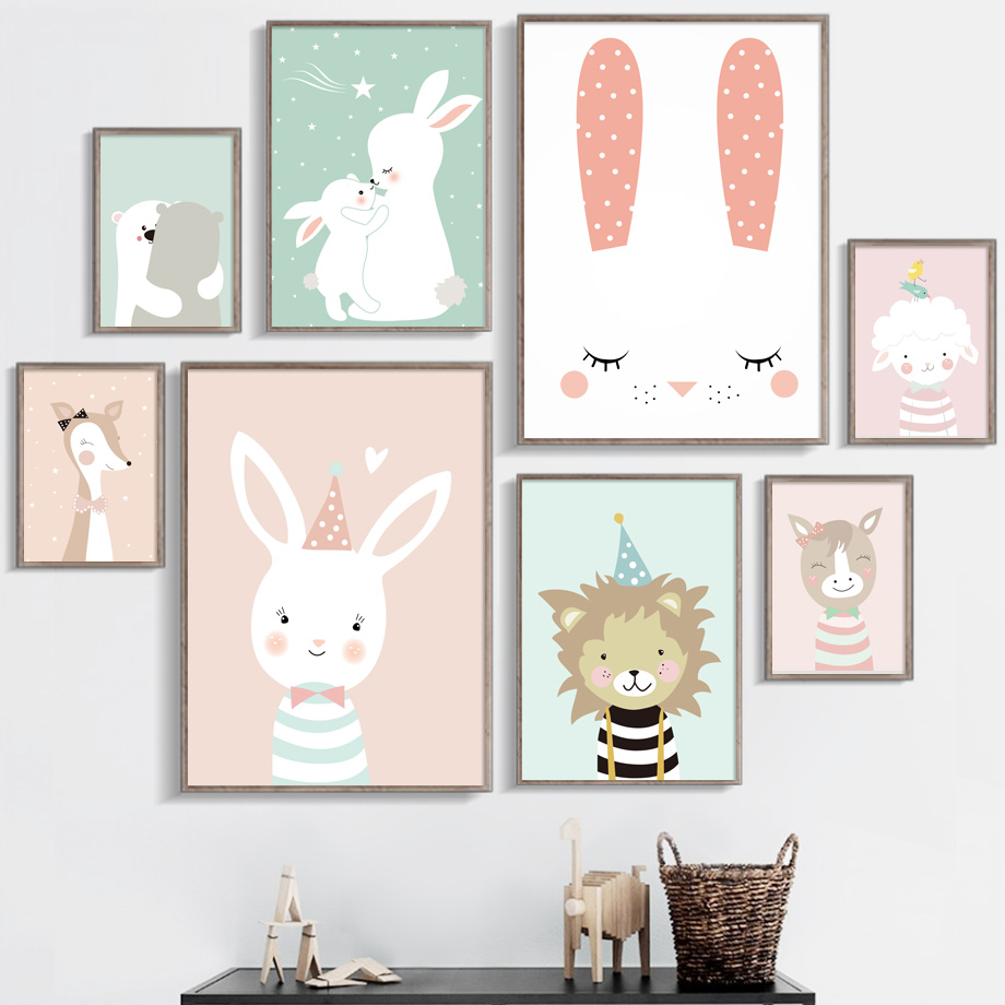 Rabbit Cow Lion Giraffe Cat Nordic Posters And Prints Wall Art Print Canvas Painting Nursery Animal Wall Pictures Baby Kids Room in Painting Calligraphy from Home Garden
