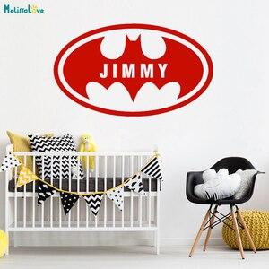 Домашнее украшение Бэтмен обычай имя летучая мышь для мальчиков комната переводная наклейка Съемная виниловая Имя мальчика настенные стикеры наклейки детская комната росписи YT946