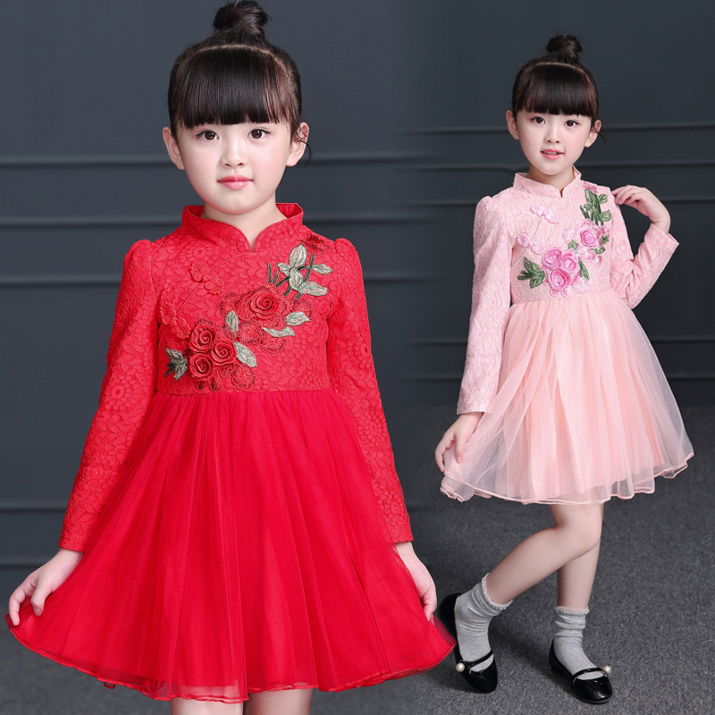 2018 New Girls Chinese Cheongsam National Style Collar Dress children's costume Girl Birthday Dress performance princess dress 3 pieces new chinese style spring winter girl boy baby brand fu cheongsam kid costume tangzhuang children set birthday cloth