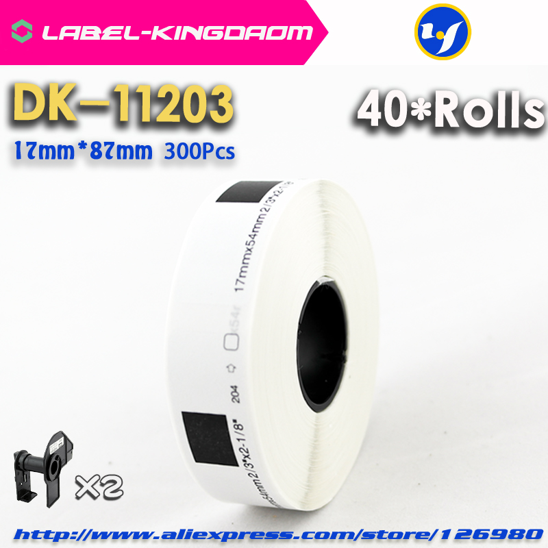 40 Refill Rolls Compatible DK-11203 Label 17mm*87mm 300Pcs Compatible for Brother Label Printer White Paper DK11203 DK-1203