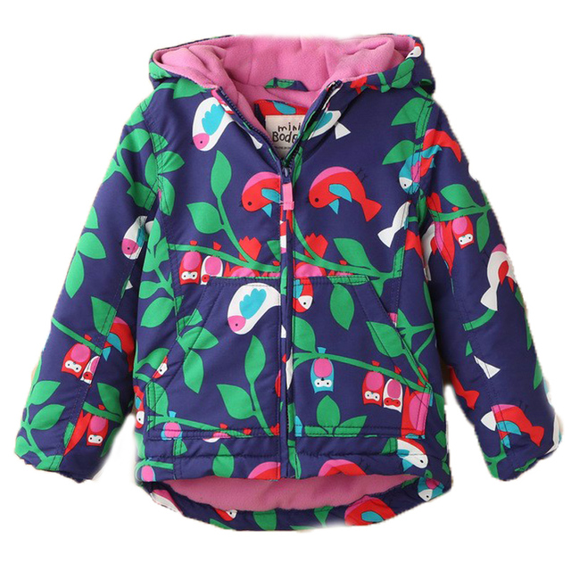 2017 New Baby Girls Clothing Winter Coats Wadded Thicken Jacket Cotton-Padded Owl Printed  Windproof Outdoor Kid Jackets 2-7T