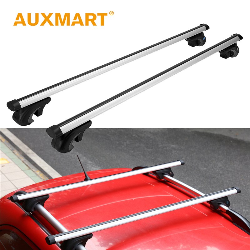 Auxmart Universal Car Roof Rack Cross Bar 124cm with Anti-thief Lock Auto Top Roof Rails Bars Bumper Load Carrier Cargo Luggage bbq fuka 2pcs car aluminum abs silver luggage carrier top roof rack cross bars fit for compass 2017 car styling car accessories