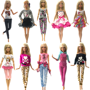NK Newest 5 Pcs Doll Super Model Dress Beautiful Outfit Fashion Clothing Casual Wear For Barbie Doll Accessories Toys JJ