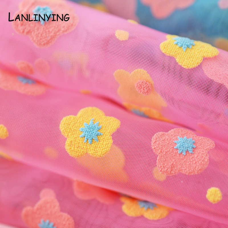NEUE Ankunft Blume Organza Stoff DIY Handwerk Tüll Bestickte Spitze Stoff Für Kleid Rock Vorhang Textil Nähen Material D536