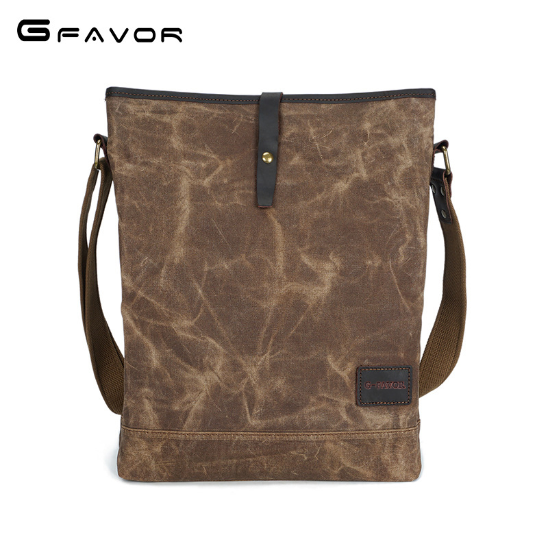 Vintage Canvas Crossbody Bags Men Large Capacity Shoulder Messenger Bags Male Computer Bag Fashion Waterproof Oil Wax Travel Bag kaka crossbody bags for men nylon waterproof chest pack bag multifunction large capacity male messenger shoulder bag casual
