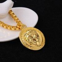 Hiphop Golden Lion Pendant Necklace 24k Gold Plated Lion Head Disc Necklace Men Hip Hop Dance