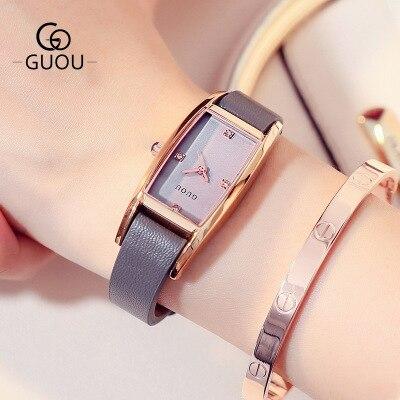 GUOU 2018 Новый кварцевые Для женщин часы Элитный бренд Мода Квадратный Циферблат наручные женские из натуральной кожи Часы relogio feminino