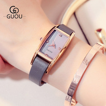 GUOU 2018 New Quartz Women Watches Luxury Brand Fashion Square dial Wristwatch Ladies Genuine Leather Watch relogio feminino часы guou