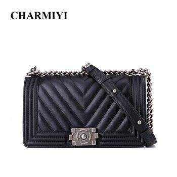 3c8e6e0f543d CHARMIYI из натуральной кожи роскошные 2018 женские сумки на плечо  дизайнерские черные женские сумки-мессенджеры высокого качества женские  Сумк..