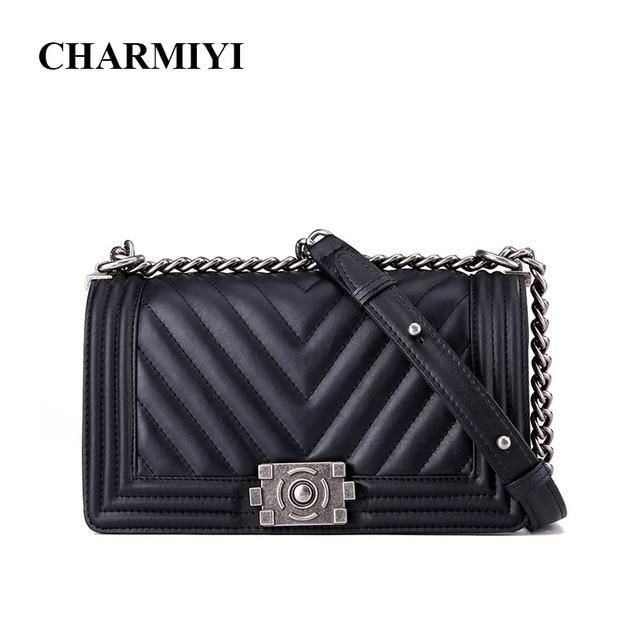CHARMIYI de cuero genuino de lujo 2018 bolsos de hombro de mujer de diseñador negro bolsas de mensajero de mujer de alta calidad bolso de mano