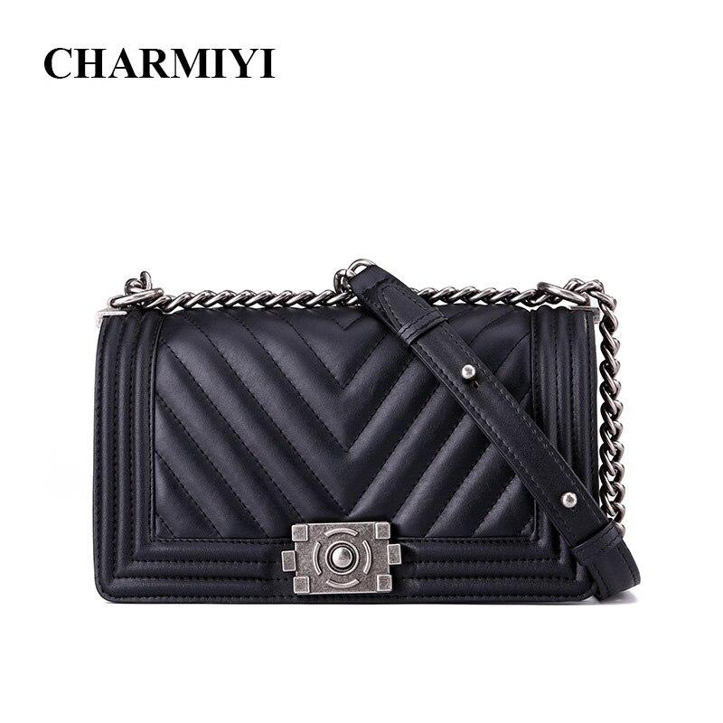 CHARMIYI en cuir véritable de luxe 2018 femmes sacs à bandoulière Designer noir femme Messenger sacs de haute qualité dames sacs à main Sac
