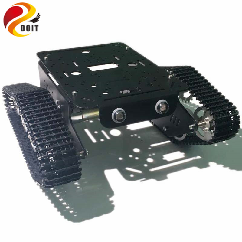 DOIT metal tank chassis T300 robot tracked car with motor and track/trail diy rc toy kit clawler caterpillar smart teaching doit cool and new 6wd robot smart car chassis big load large bearing chassis with motor 6v150rpm wheel skid diy rc toy