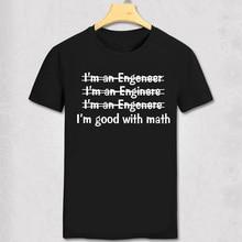 Funny font b Engineer b font Mens T shirt Good With Math font b tshirt b