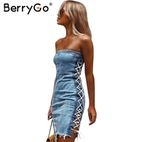 BerryGo Sexy senza spalline lace up denim Delle Donne del vestito spaccato fringe hollow out blu denim vestito aderente Streetwear jean dress abiti