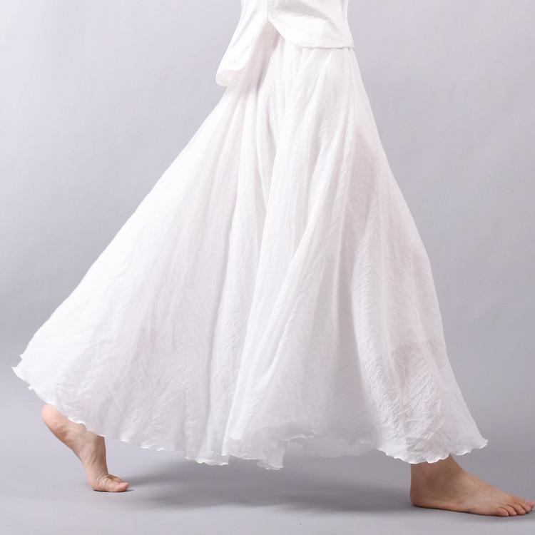 dffc61cd1 2019 mujeres verano falda Lino algodón Vintage mujeres Faldas largas  cintura elástica plisada Maxi Faldas Beige blanco Boho Faldas