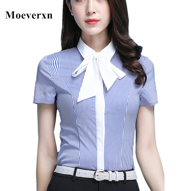 Office Blue Striped Shirts Women Bow Tiw Formal Blouses Slim Short