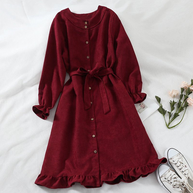 Mferlier Women Winter Dress O Neck Long Flare Sleeve Sashes High Waist Ruffles Hem Blue Pink 6 Colors Mori Girl Chic Shirt Dress