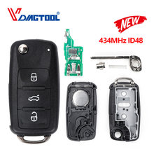 VDIAGTOOL-mando a distancia de coche inteligente plegable con tapa, 3 botones, para VW, Volkswagen, PASSAT, Polo, Skoda, Seat, 1J0959753DA, 434Mhz, con ID48