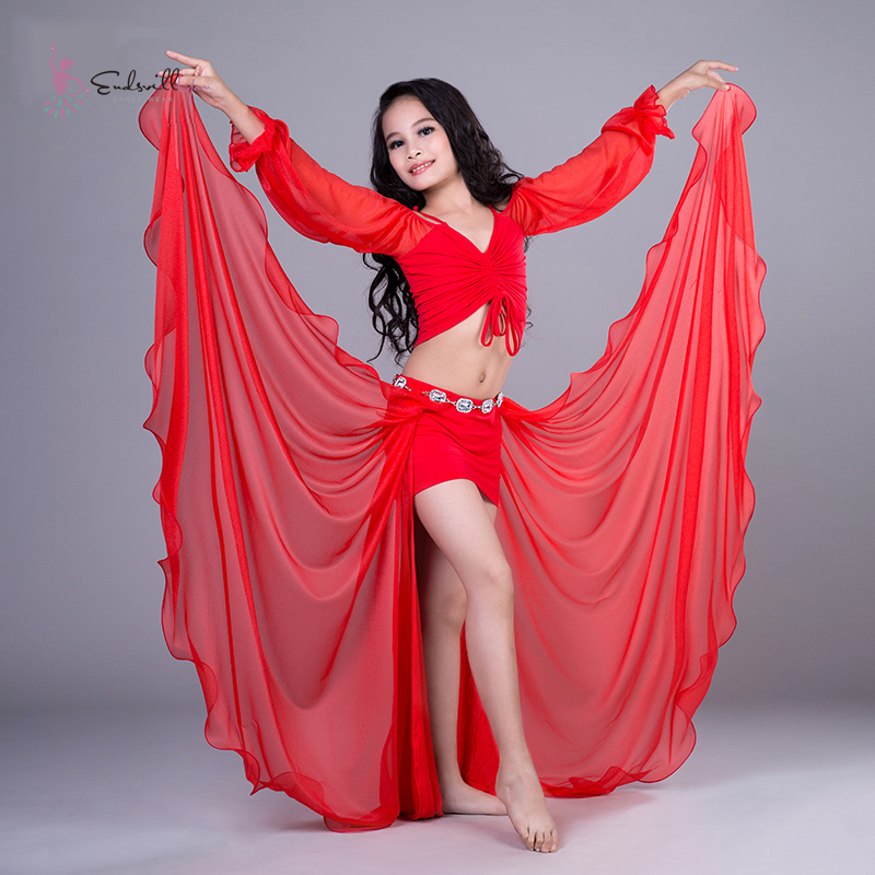 Kid Belly Dance Performance Suits Girls/Child Oriental Dancing Costumes Practice Clothes Sexy 3pcs/set Tops+Skirt Pant