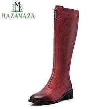 RAZAMAZA женские ботинки на плоской подошве из натуральной кожи женская обувь зимние Сапоги до колена модные, пикантные высокие сапоги на молнии обувь Размер 34–39