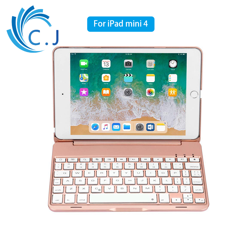 Mini Tablet Keyboard With 7 Colors Backlit Bluetooth Keyboard For iPad mini 4 Aluminum Smart keyboard Case With Stand for ipad mini 4 backlit wireless 4 0 bluetooth keyboard 7 colors backlight ultra slim aluminum abs material a1538 a1550