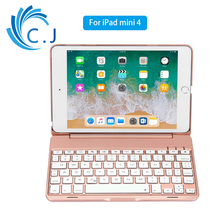 Mini Tablet Keyboard With 7 Colors Backlit Bluetooth Keyboard For iPad mini 4 Aluminum Smart keyboard Case With Stand mini bluetooth keyboard for iphone android smart phone tablet pc