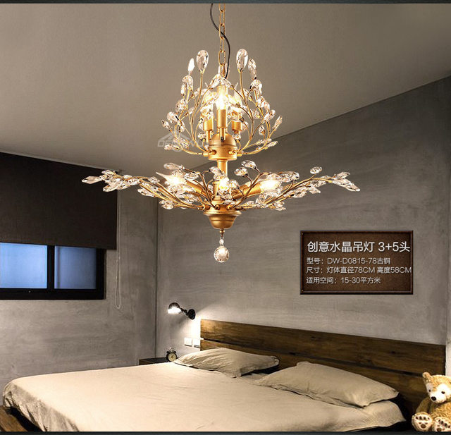 Online shop 2016 new vintage american black gold chandelier 2016 new vintage american black gold chandelier crystal chandeliers for home living room dinning room restaurant lamp e14 wpl191 mozeypictures Image collections