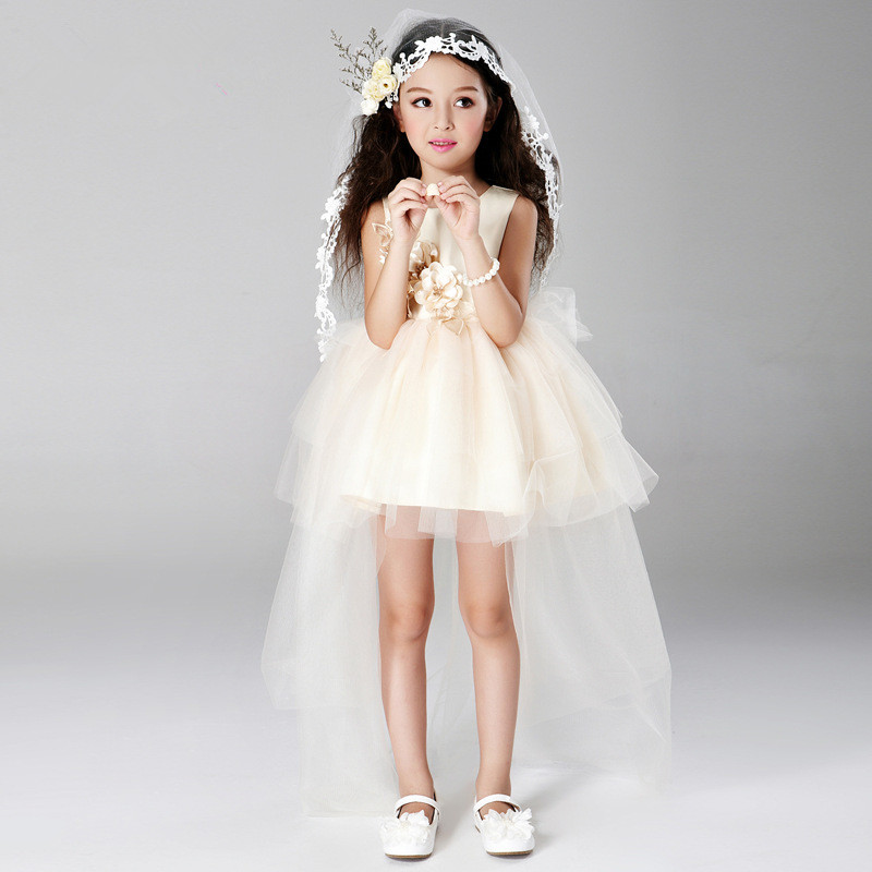 2017 Sweet Pincess Champagne Girl Dress Kids Girls Vestidos Summer Children Clothes For 3 4 6 8 10 12 14 Years Old AKF164089 azel elegant latest new child dress for 2 3 year old girls vestidos fashion summer kid clothing little girls daily clothes 2017
