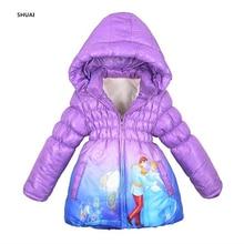 New Winter Girls Jacket Cinderella Winter Thick Warm Hooded Children Outerwear Girls Coat Cotton Long Style Kids Clothing