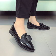 Spring Autumn Flats Women Shoes Bowtie Loafers Patent Leather Elegant Low Heels Slip On Footwear Female Pointed Toe Thick Heel(China)