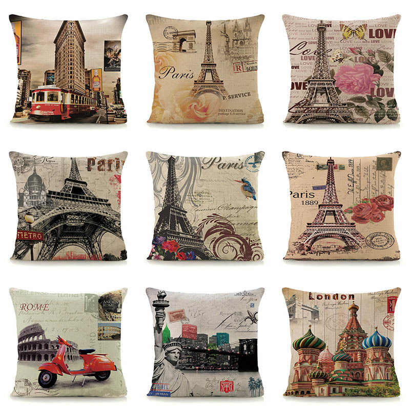 A Reaso Linen PARIS Throw Pillow Case Home Decor Coussin Vintage