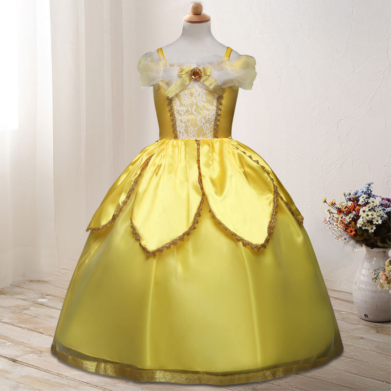 Beauty and The Beast Princess Belle Dress Costume Kids Sleeveless Yellow Party Dress Children Kids Carnival Birthday Gown Cloth