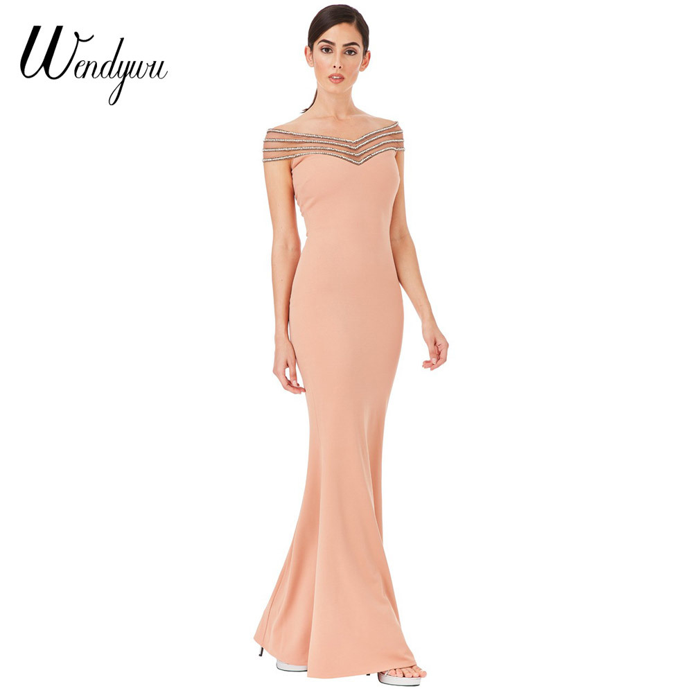 Wendywu New Elegant Women Prom Off the Shoulder Diamonds Mesh Patchwork Mermaid Long Dress