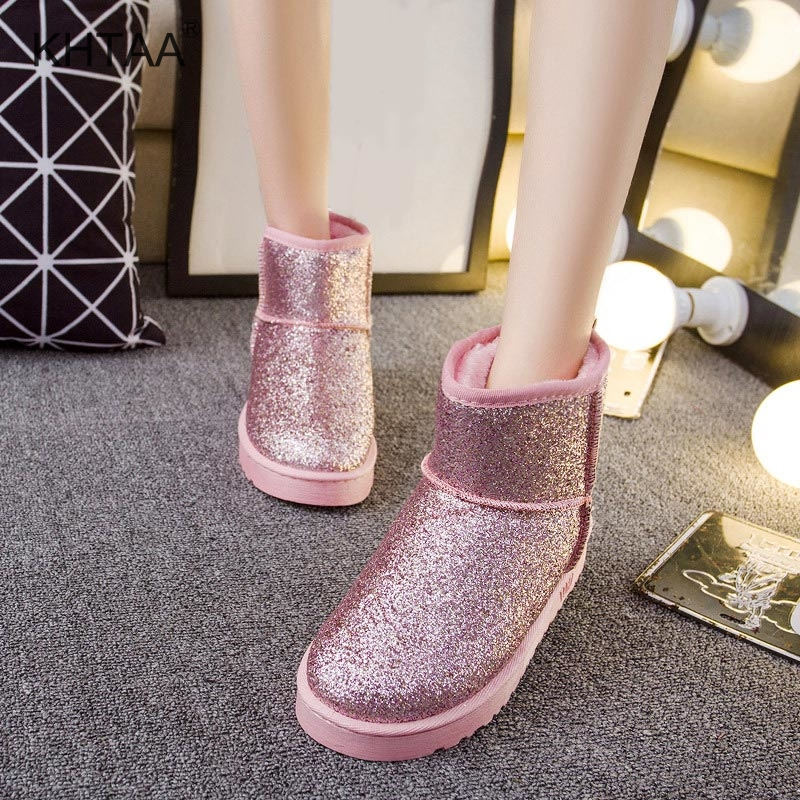 MCCKLE Women Casual Flatform Flat Glitter Mid Calf Boots Ladies Leisure  Footwear Female Slip On Winter ... 92873972bb7e