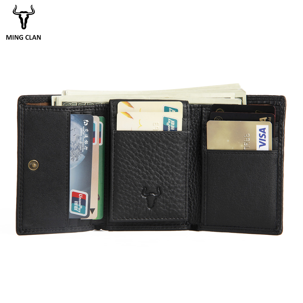 Mingclan Vintage Trifold Genuine Leather Wallet Men Design Cowhide Leather ID Card Holder Male Purse Short Coin Pocket Bag Purse brand wallet 2016 monthaus genuine leather male wallet short design first layer cowhide purse horizontal vintage men bag
