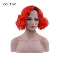 Ccutoo Kylie Jenner Courte Bouclés Noir Ombre Rouge Synthétique Cheveux Cosplay Costume Perruques Résistance À La Chaleur Pleine Perruque