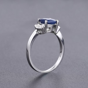 Image 5 - GEMS BALLET 925 Sterling Silver Ring 2.02Ct Classic Natural Blue Sapphire Rings For Women Engagement Wedding Gift Fine Jewelry