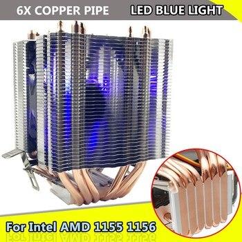 La luz azul de luz LED ventilador de CPU 6X de tubería de calor para Intel Gal 1155 1156 AMD Socket AM3/AM2 de alta calidad de la computadora refrigerador ventilador de refrigeración de la CPU