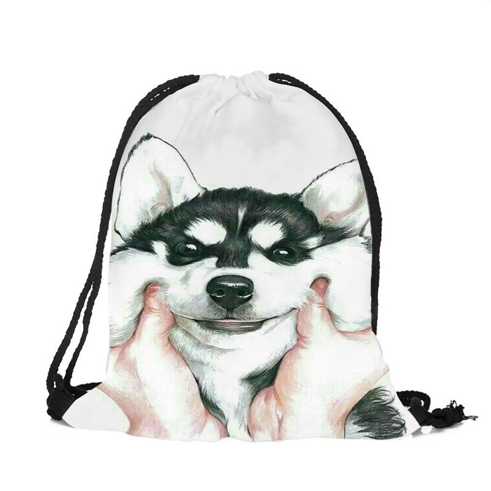Pink Blue Animal Husky Pug Design String Backpack Women Girls Polyester Drawstring Bags Travel Shoes Dust Storage Shoulder Bag